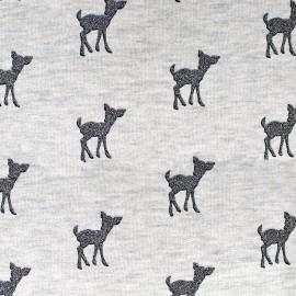 Tissu sweat léger Bambi Glitter - anthracite/écru x 10cm