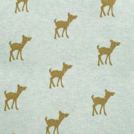 Tissu sweat léger Bambi Glitter - doré/vert d'eau x 10cm