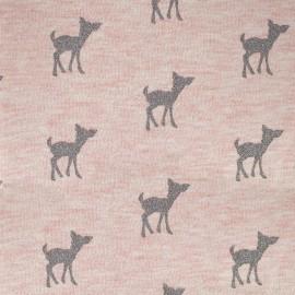 Tissu sweat léger Bambi Glitter - gris/rose x 10cm