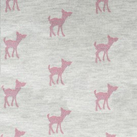 Light sweat fabric Bambi Glitter - pink/ecru x 10cm