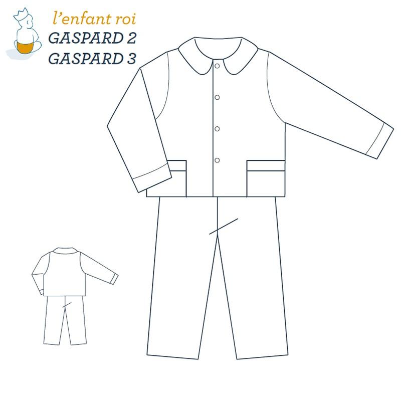 Patron l'Enfant Roi Veste de Pyjama Gaspard de 2 ans à 12 ans