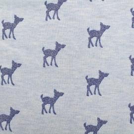 Tissu sweat léger Bambi Glitter - bleu/ciel x 10cm