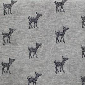 Tissu sweat léger Bambi Glitter - anthracite/gris x 10cm