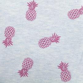 Tissu sweat léger Ananas Glitter - fuchsia/ciel x 10cm
