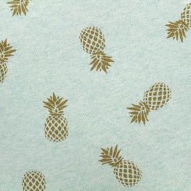 Tissu sweat léger Ananas Glitter - doré/vert d'eau x 10cm