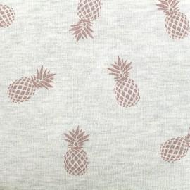 Tissu sweat léger Ananas Glitter - rose/écru x 10cm