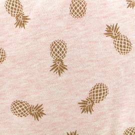 Tissu sweat léger Ananas Glitter - doré/rose x 10cm