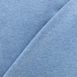 Tissu sweat léger chiné - bleu x 10cm