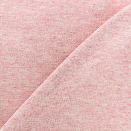 Tissu sweat léger chiné - rose x 10cm