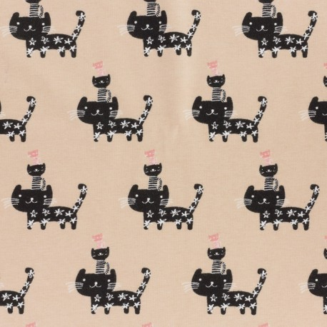Jersey fabric Petits chats - old pink x 12cm