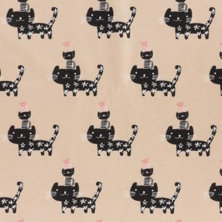 Tissu Jersey Petits chats - vieux rose x 12cm