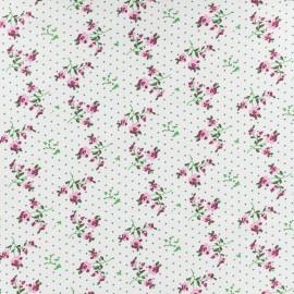 Tissu Jersey Fleurettes - blanc x 10cm