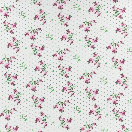 Tissu Jersey Stenzo Fleurettes - blanc x 10cm