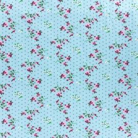 Stenzo jersey fabric Fleurettes - turquoise x 10cm