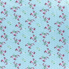 Tissu Jersey Fleurettes - turquoise x 10cm