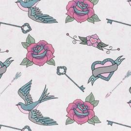 Tissu Jersey Rockabilly - rose x 21cm