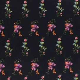 Tissu Jersey Romantic butterfly - noir x 10cm