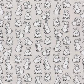 Tissu Jersey Lapinou - gris clair x 10cm