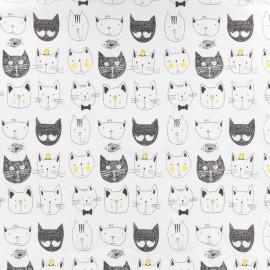 Tissu Jersey Funny Cats - blanc x 10cm