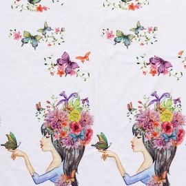 Tissu Oeko-Tex Jersey Romantique - blanc x 25cm