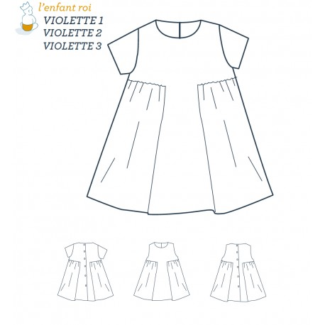 Violette Dress L'Enfant Roi sewing pattern - From 3 months to 12 years old