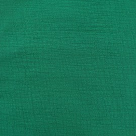 Tissu double gaze de coton Oeko-tex - Emeraude Camillette création x 10cm