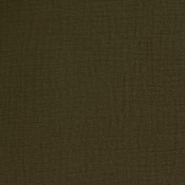 Tissu double gaze de coton Oeko-tex - Olive Camillette création x 10cm