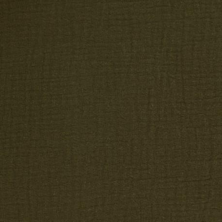 tissu double gaze de coton oeko tex olive camillette cr ation. Black Bedroom Furniture Sets. Home Design Ideas