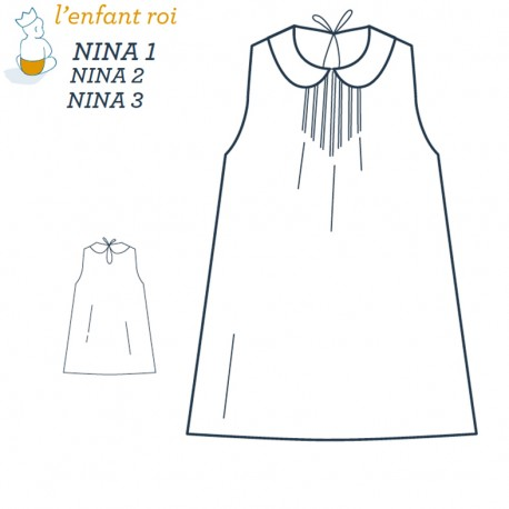 Nina Dress L'Enfant Roi sewing pattern - From 3 months to 12 years old