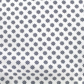 Poppy cotton fabric Marine Gouvernail - white x 10cm