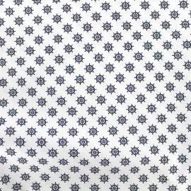 Tissu Poppy Marine Gouvernail - blanc x 10cm