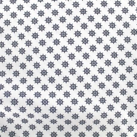 Poppy cotton fabric Marine Gouvernail - white x 10cm