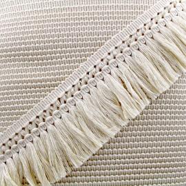 Ruban galon franges dentelle au crochet 65mm - crème x 1m
