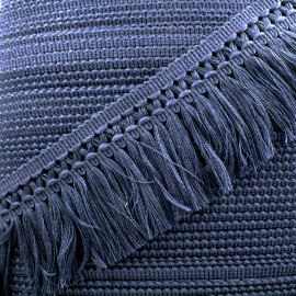 Ruban galon franges dentelle au crochet 65mm - bleu nuit x 1m