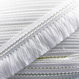 Ruban galon franges dentelle au crochet 65mm - blanc x 1m