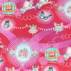 Jersey fabric You will go to the ball - fuchsia x 26cm