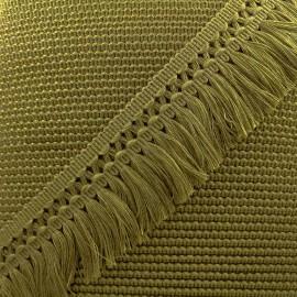 Ruban galon franges dentelle au crochet 65mm - olive x 1m