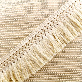 Ruban galon franges dentelle au crochet 65mm - écru x 1m
