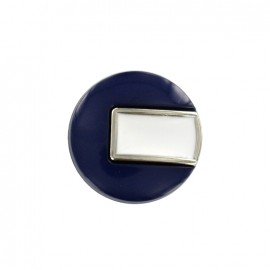 Bouton polyester Sixties - bleu nuit/argent