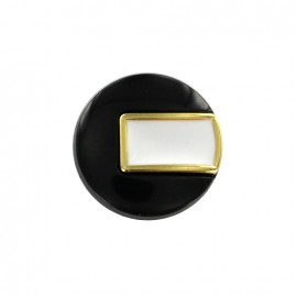 Bouton polyester Sixties - noir/doré
