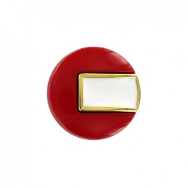Bouton polyester Sixties - rouge/doré
