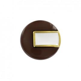 Bouton polyester Sixties - marron/doré