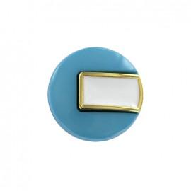 Bouton polyester Sixties - bleu/doré