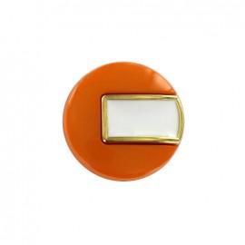 Bouton polyester Sixties - orange/doré
