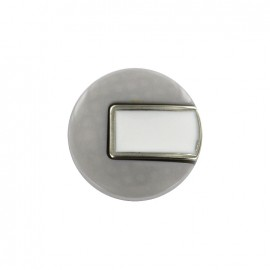 Bouton polyester Sixties - gris/argent