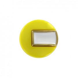 Bouton polyester Sixties - jaune/doré