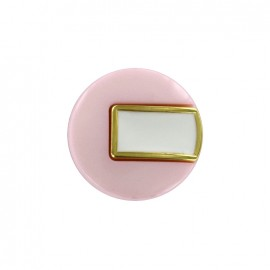 Bouton polyester Sixties - rose/doré