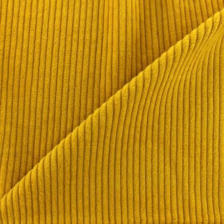 Tissu velours grosses côtes - jaune moutarde x10cm