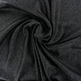Tissu crêpe gaufré irisé - noir/argent x 10cm
