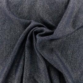 ♥ Coupon tissu 10 cm X 145 cm ♥ crêpe gaufré  iris  - bleu nuit/dor